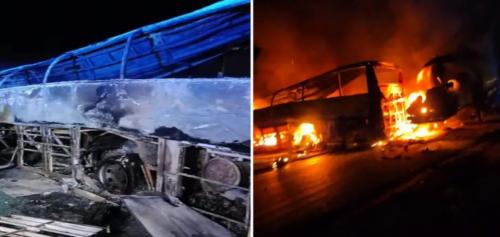 У Єгипті автобус на швидкості врізався у фуру: 20 людей згоріли живцем (фото, відео)
